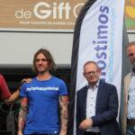 Ed Bijman, Ferry Zandvliet, Gert-Jan Mijnen en Sander Brand bij de Gift City in Zwolle