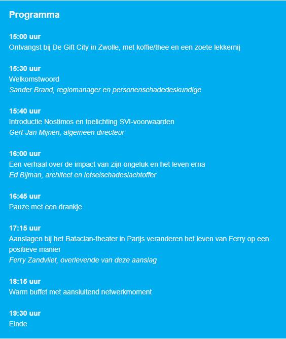 Programma op 3 juli 2019, tussenpersonenbijeenkomst Nostimos in Zwolle