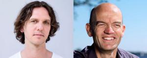 Sprekers Ferry Zandvliet en Ed Bijman, bij tussenpersonenbijeenkomst van Nostimos in Zwolle